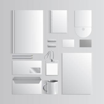 브랜드 책 및 지침에 대한 기업의 정체성 템플릿 흰색 모형 벡터 회사 스타일