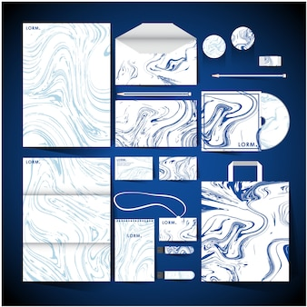 Corporate identity with white and blue marble design