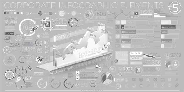 Corporate infographic elements in gray and white
