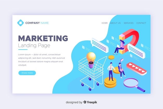 Corporate isometric marketing landing page
