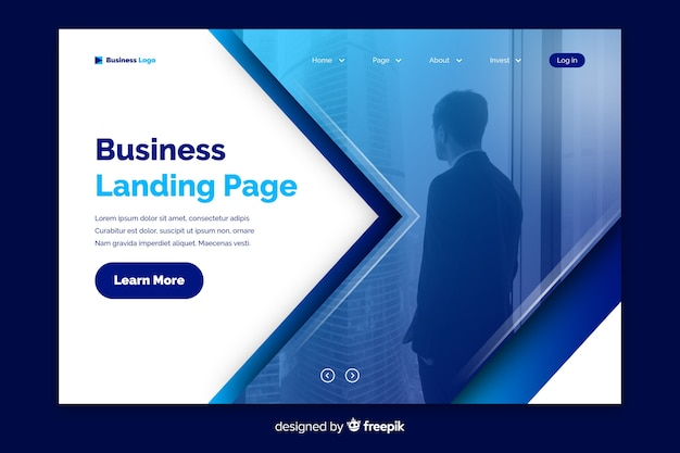 Corporate landing page with photo template