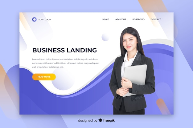 Corporate landing page with photo