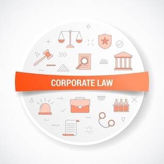 원형 또는 원형 모양 일러스트와 함께 아이콘 개념 기업 법률