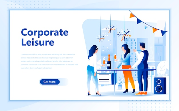 Corporate leisure flat landing page template of homepage