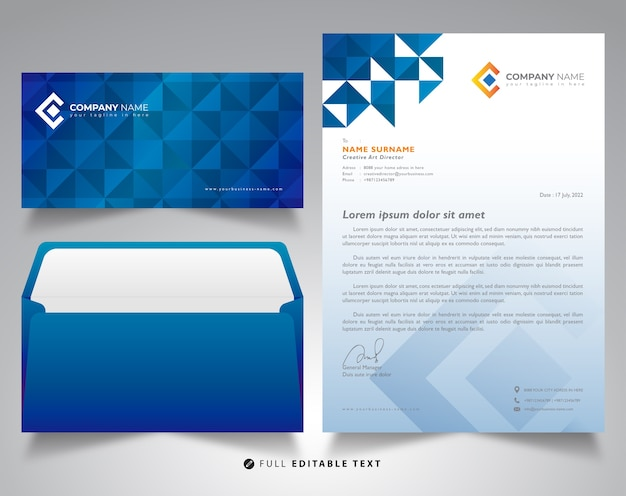 Corporate letterhead envelope mockup design concept