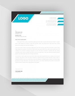 Corporate letterhead template design with cyan color.