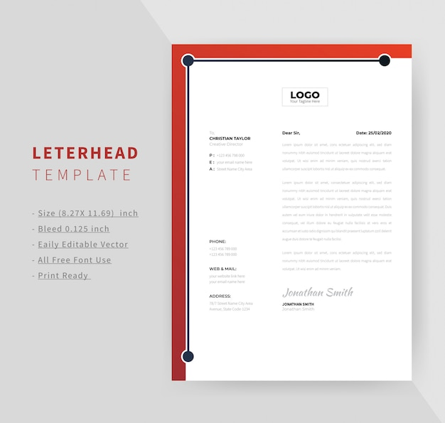 Corporate letterhead template design