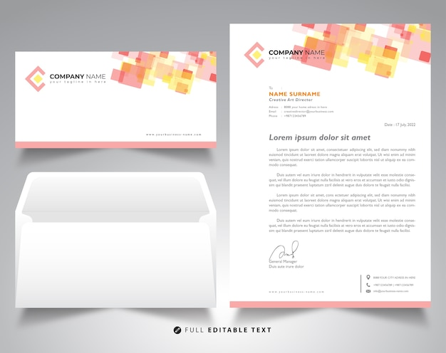 Corporate letterhead template envelope mockup