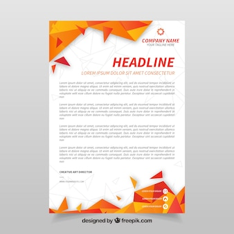 Corporate letterhead with orange abstract shapes