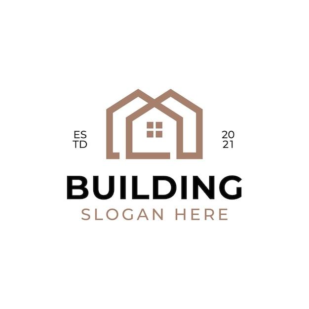幾何学的形状の不動産線形スタイルのロゴデザインを構築する企業のロゴ
