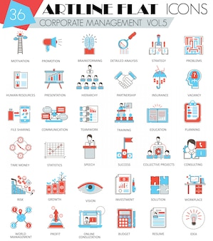 Corporate management flat line icons set
