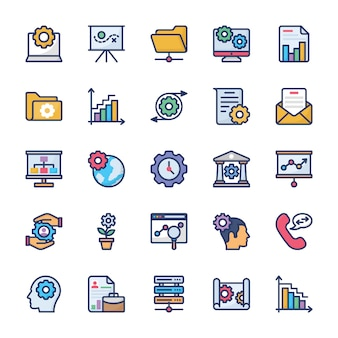 Corporate management and teamwork glyph icons