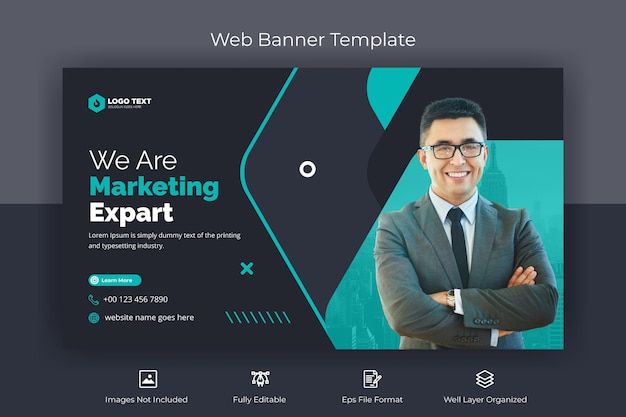 Corporate marketing web banner and youtube thumbnail template