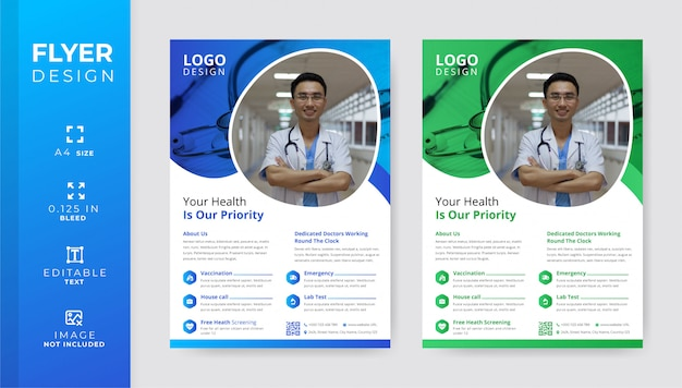 Corporate medical and healthcare flyer template