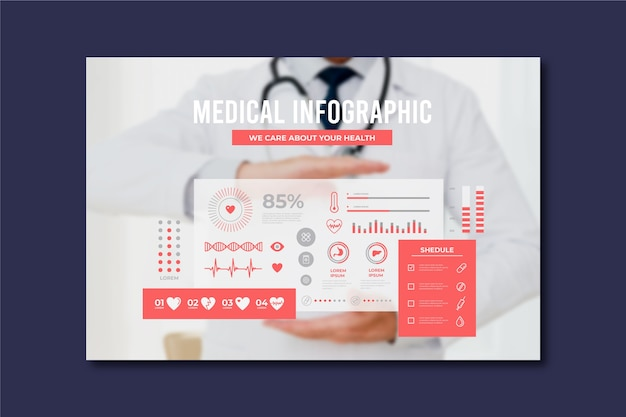 Corporate medical infographic with photo