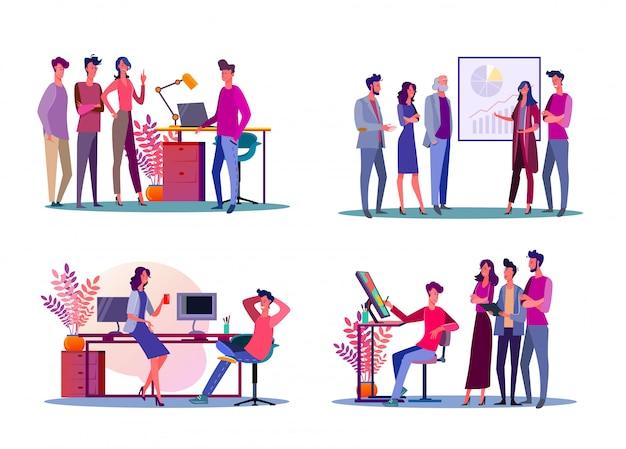 Corporate meeting illustration set