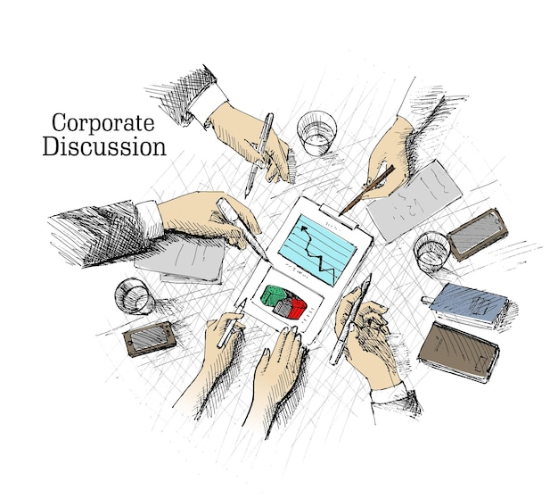 Corporate meeting planning and teamwork top view concept with businessman hands and various office