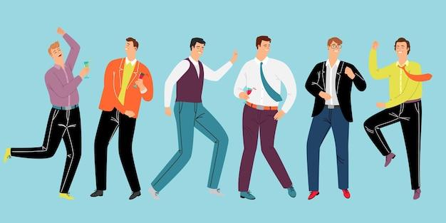 企業の男性パーティー。トレンディな衣装で踊り、ワインを飲む漫画の幸せな友達、チームワーク後のビジネス休息のベクトルイラストコンセプト