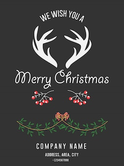 Corporate merry christmas greeting invitation card