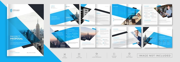 Corporate minimal 16 page brochure template design with modern style layout