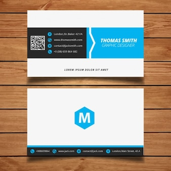 Corporate minimal black and blue business card template