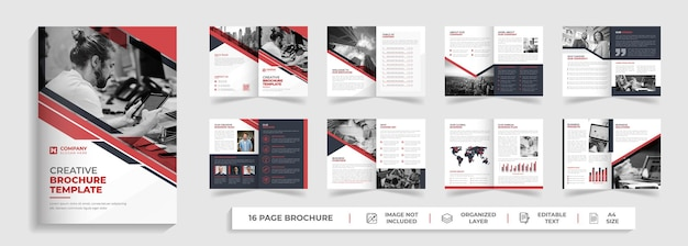 Corporate modern 16 page bifold multipage brochure template with red and black creative shape