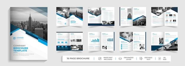 창조적 인 모양의 기업 현대 16 페이지 이중 다중 페이지 브로셔 템플릿 디자인