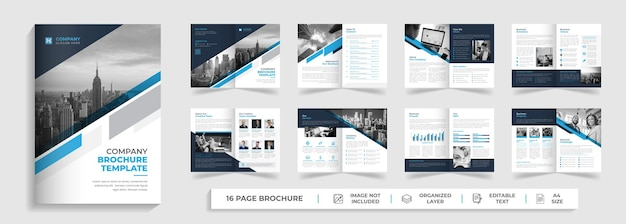 Corporate modern 16 pages bifold multipage brochure template design with creative shape
