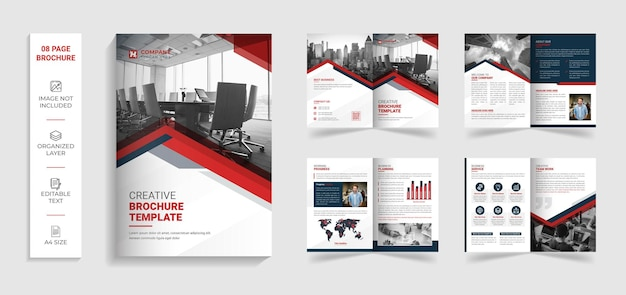 Corporate modern 8 page bifold multipage brochure template with red and black creative shapes