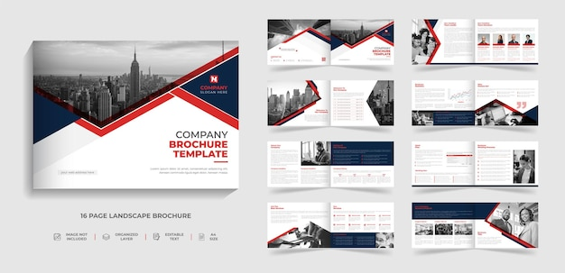Corporate modern bi fold landscape brochure template and company profile annual report design