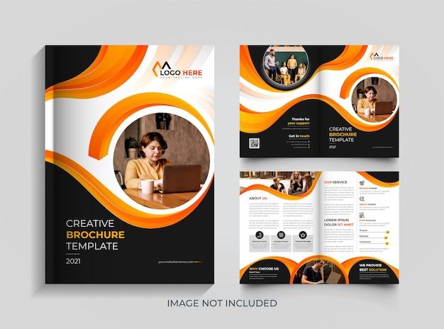 Corporate modern bi-fold orange and black brochure design template