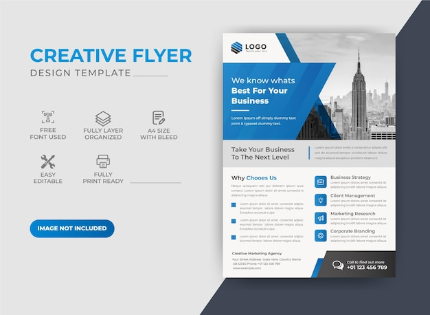 Corporate modern blue color flyer design