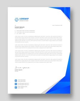 青い色の企業のモダンなビジネスレターヘッドデザインテンプレート
