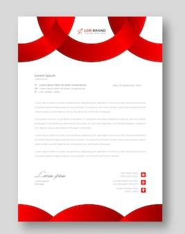 赤い色の企業のモダンなビジネスレターヘッドデザインテンプレート
