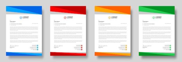 Корпоративный современный бизнес фирменный бланк с желтым, синим, зеленым и красным цветами