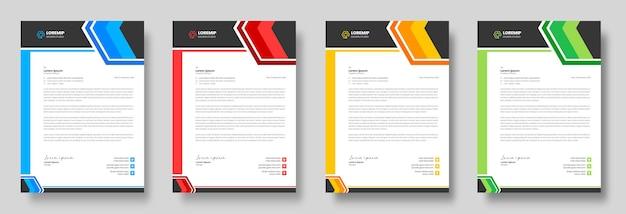 黄色、青、緑、赤の色で企業のモダンなビジネスレターヘッドデザインテンプレート