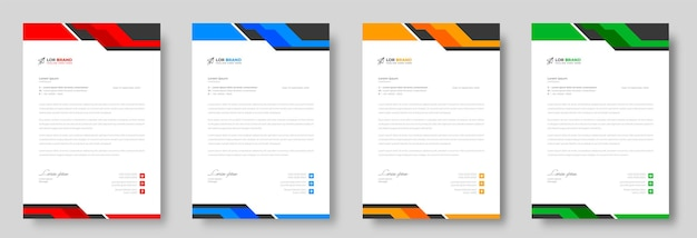 Corporate modern business letterhead design template with yellow blue green and red colors