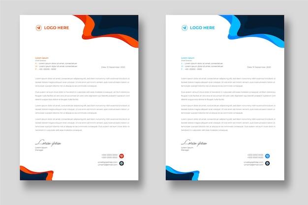青とオレンジの形をした企業のモダンな会社のレターヘッドデザインテンプレート