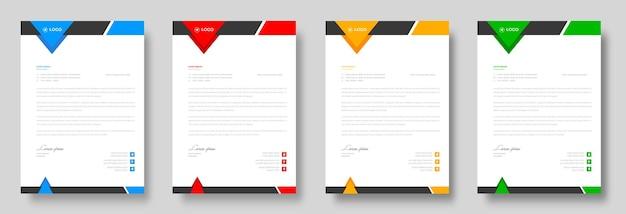 赤、青、緑、黄色の形をした企業のモダンな会社のレターヘッドデザインテンプレート