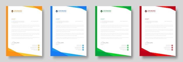 Корпоративный современный шаблон фирменного бланка компании с красными, синими, зелеными и желтыми формами