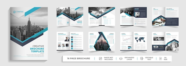 Corporate modern company profile and bifold multipage brochure template design with creative shapes