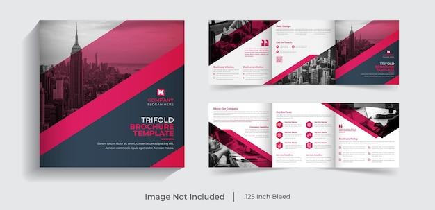 Corporate modern creative business square trifold brochure template