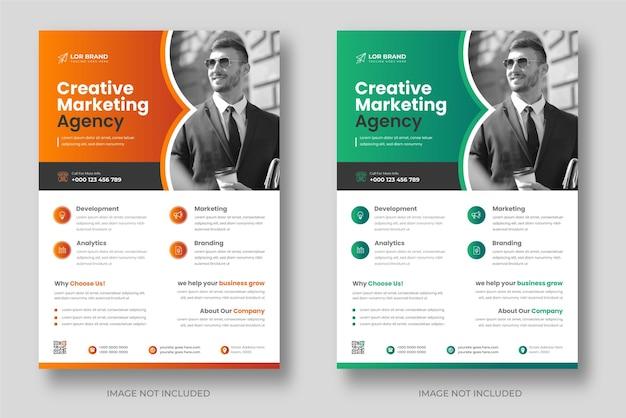 オレンジと緑の色で企業のモダンなデジタルマーケティングチラシテンプレート Premiumベクター