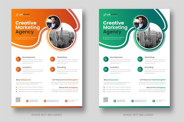 オレンジと緑の色で企業のモダンなデジタルマーケティングチラシテンプレート