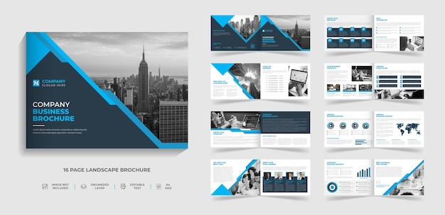 추상적인 모양으로 기업 현대 여러 페이지 이중 풍경 4 브로셔 템플릿 디자인