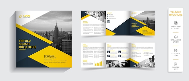 企業のモダンなプロの二つ折りパンフレット会社概要デザイン