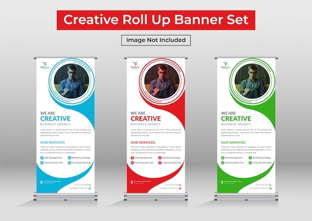 Corporate modern roll up banner set