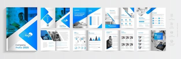 Корпоративный многостраничный бизнес-брошюра дизайн шаблона минимальный шаблон профиля компании дизайн макета