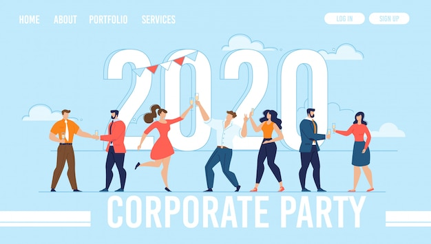 Corporate new year party organization landing page