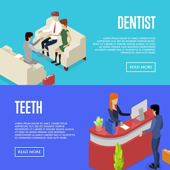 Corporate office life isometric 3d banner web set